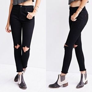 BDG High Rise Skinny Grazer Distressed Jean Black